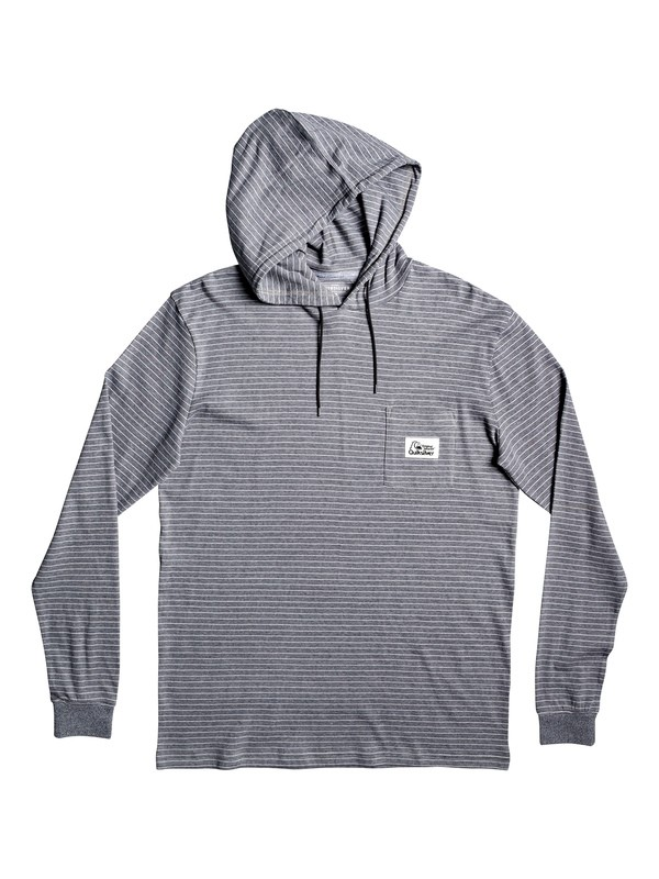 0 Zermet Hooded Long Sleeve Pocket Tee Grey EQYKT03906 Quiksilver