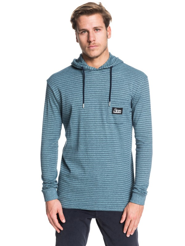 0 Zermet Hooded Long Sleeve Pocket Tee Blue EQYKT03906 Quiksilver