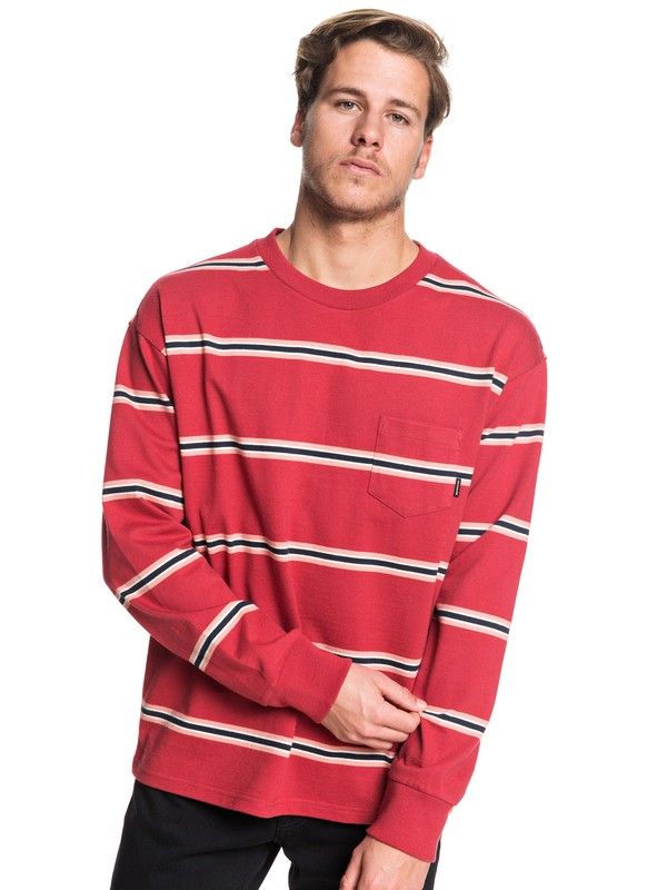 0 Barrel Way Long Sleeve Pocket Tee Red EQYKT03908 Quiksilver