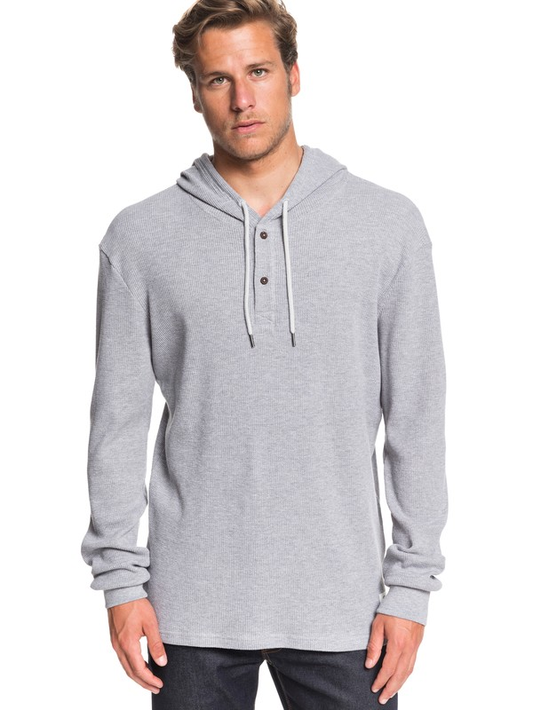 0 Rio Real Waffle Knit Long Sleeve Hooded Top Grey EQYKT03940 Quiksilver