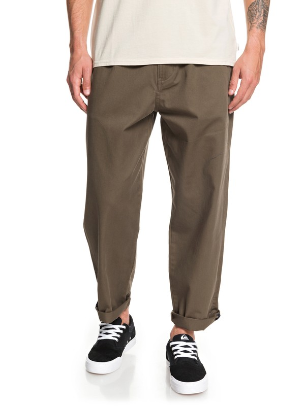 0 Drop Bear Loose Fit Pleat Pants Brown EQYNP03173 Quiksilver