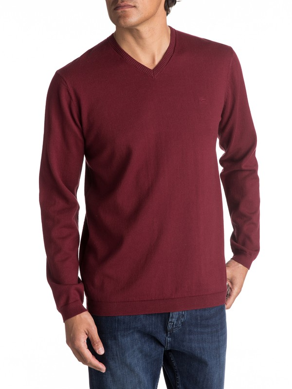 0 Everyday Kelvin - Sweat col V pour Homme Rouge EQYSW03141 Quiksilver