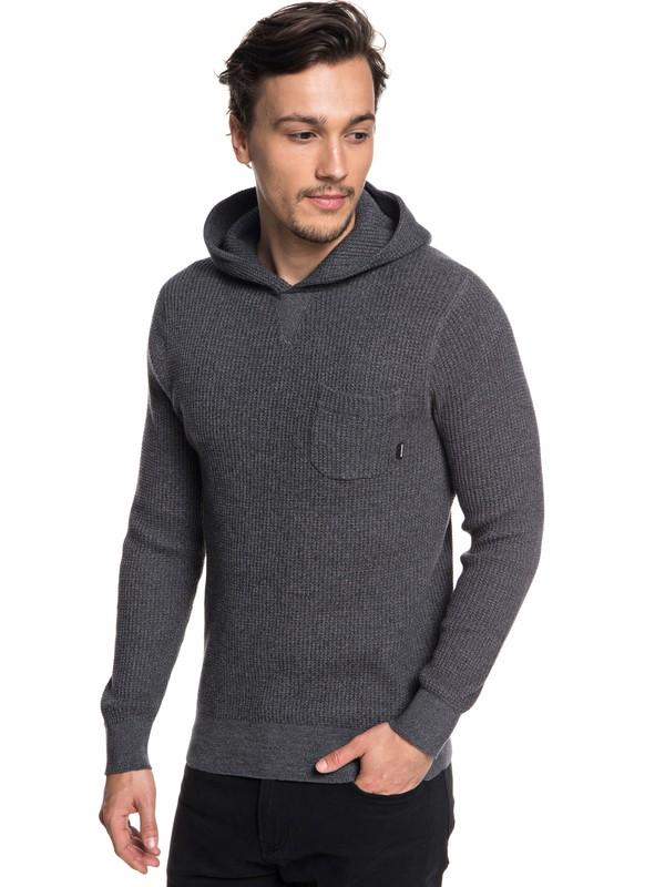 0 Kempton Hooded Waffle Knit Sweatshirt Black EQYSW03222 Quiksilver