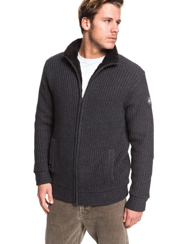 0 Boketto - Pull col montant zippé doublé en sherpa pour Homme Noir EQYSW03224 Quiksilver