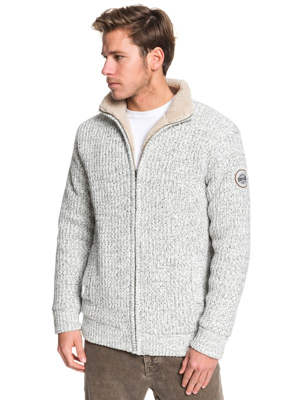 0 Boketto - Sherpa Lined Zip-Up Mock Neck Jumper Grey EQYSW03224 Quiksilver