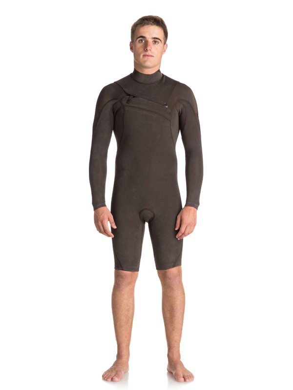 0 2/2mm Quiksilver Originals Monochrome - Chest Zip Long Sleeve Springsuit for Men  EQYW403008 Quiksilver