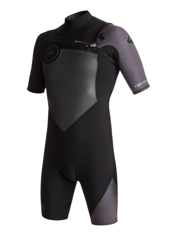 0 2/2mm Highline Plus - Short Sleeve Chest Zip Springsuit for Men Black EQYW503005 Quiksilver