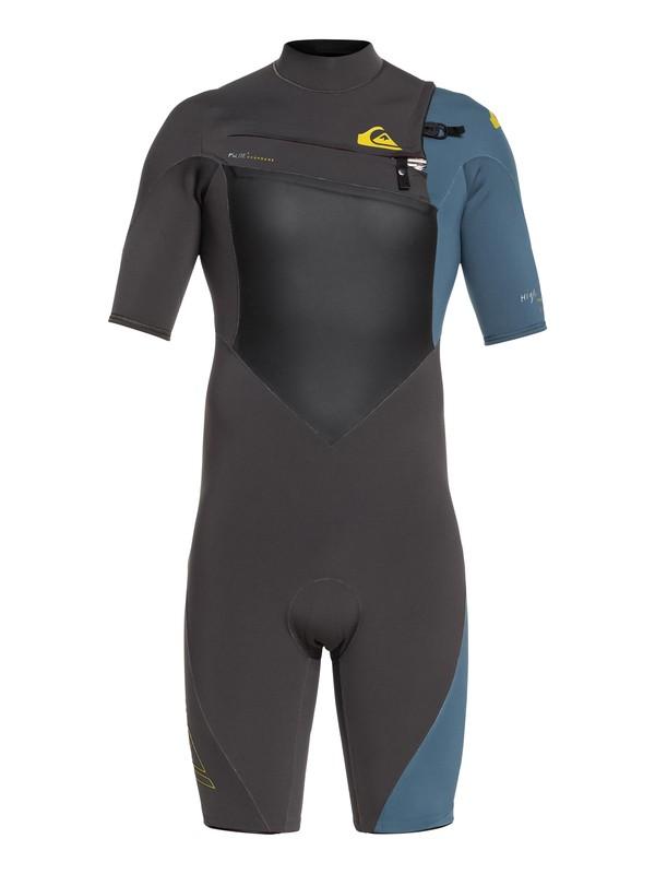 0 2/2mm Highline Plus - Springsuit manches courtes zip poitrine pour Homme Noir EQYW503008 Quiksilver