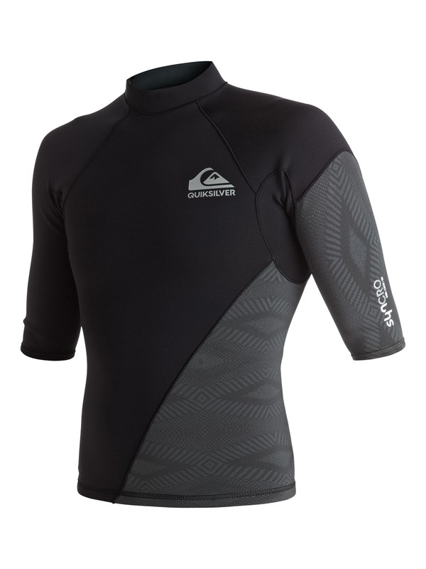 0 1mm Syncro New Wave - Short Sleeve Neoprene Top for Men Black EQYW903001 Quiksilver