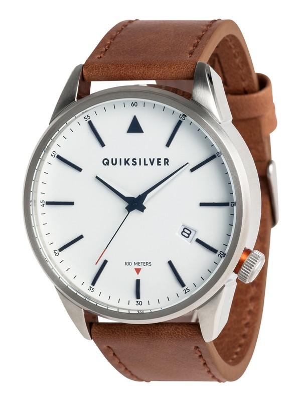 0 The Timebox Leather - Analoge Uhr für Männer Grau EQYWA03024 Quiksilver