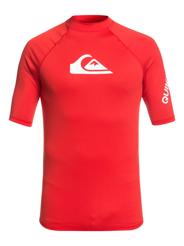 0 All Time Short Sleeve UPF 50 Rashguard Red EQYWR03136 Quiksilver