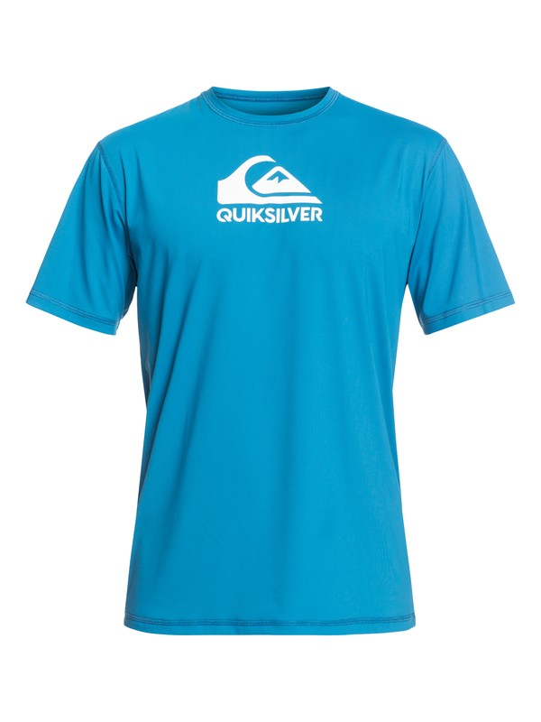 0 Solid Streak Ls Short Sleeve UPF 50 Surf Tee Blue EQYWR03159 Quiksilver