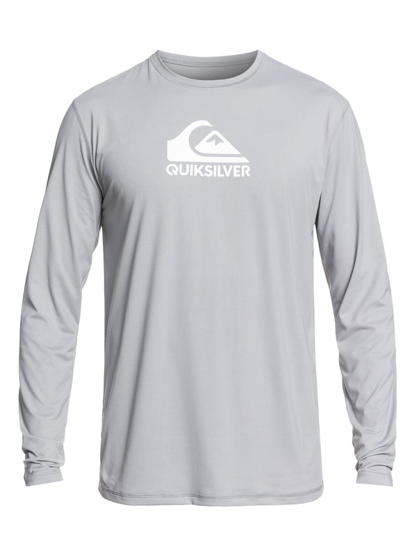 0 Solid Streak Long Sleeve UPF 50 Surf Tee Grey EQYWR03160 Quiksilver
