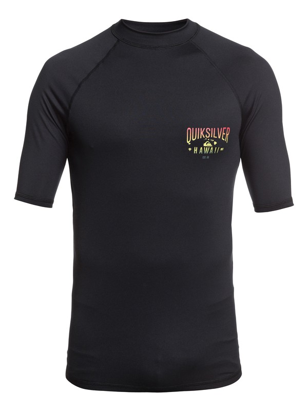 0 Kona Way Short Sleeve UPF 50 Rashguard Black EQYWR03193 Quiksilver