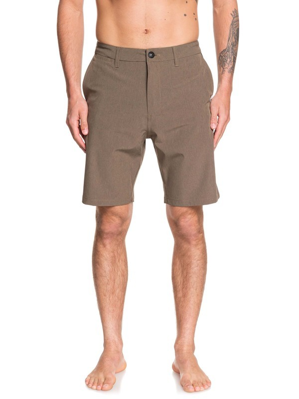 "0 Union Heather 20"" Amphibian Boardshorts Brown EQYWS03583 Quiksilver"
