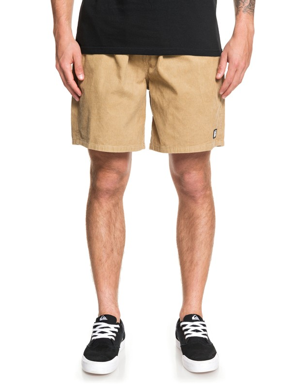 "0 Wax Out 18"" Elasticized Corduroy Shorts Brown EQYWS03608 Quiksilver"