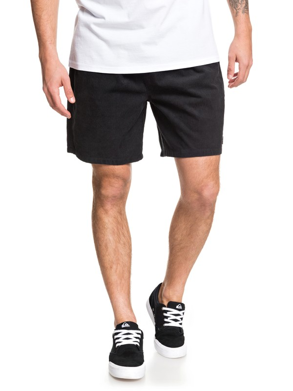 "0 Wax Out 18"" Elasticized Corduroy Shorts Black EQYWS03608 Quiksilver"