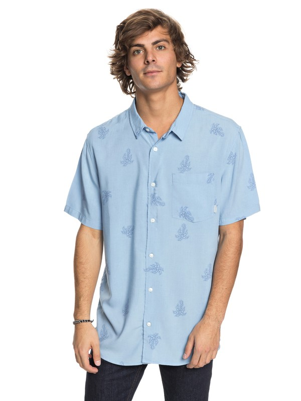 0 Palm Vibration Short Sleeve Shirt Blue EQYWT03691 Quiksilver
