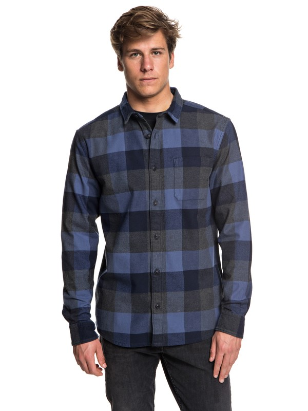 0 Stretch Flannel Long Sleeve Shirt Blue EQYWT03693 Quiksilver