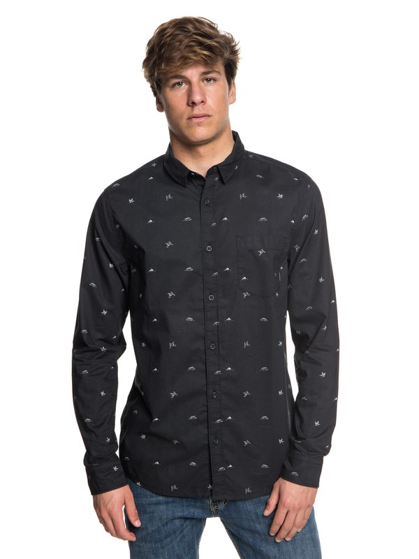 0 Fuji Mini Motif Long Sleeve Shirt Black EQYWT03716 Quiksilver