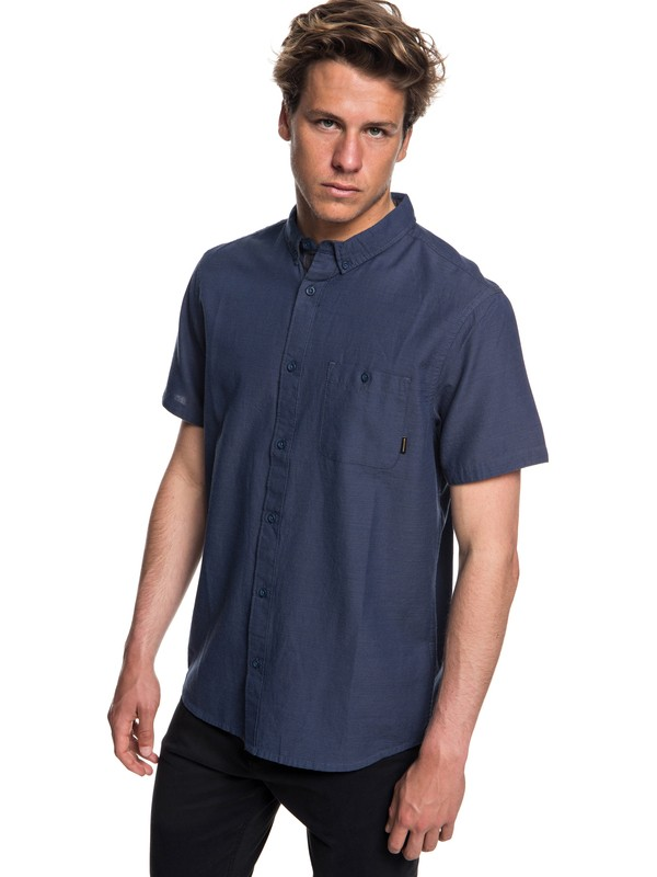 0 Waterfalls Short Sleeve Shirt Blue EQYWT03723 Quiksilver