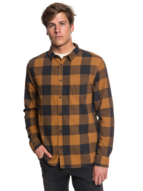 0 Motherfly Flannel Long Sleeve Shirt Brown EQYWT03728 Quiksilver