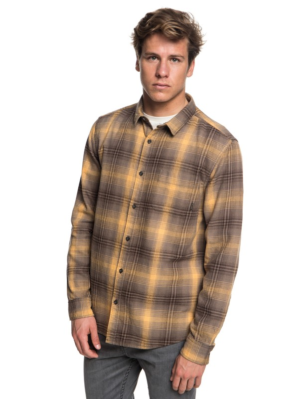 0 Fatherfly FLannel Long Sleeve Shirt Brown EQYWT03730 Quiksilver