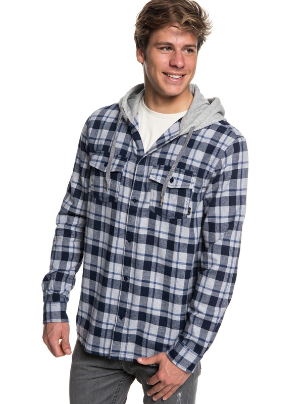0 Snap Up Flannel Long Sleeve Shirt Blue EQYWT03732 Quiksilver