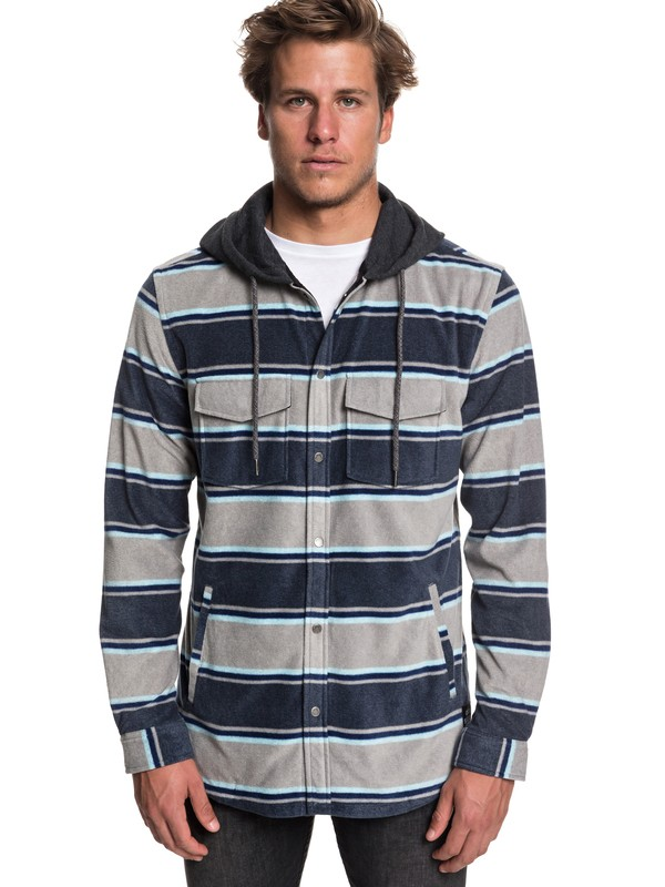 0 Surf Days Long Sleeve Hooded Shirt Blue EQYWT03744 Quiksilver