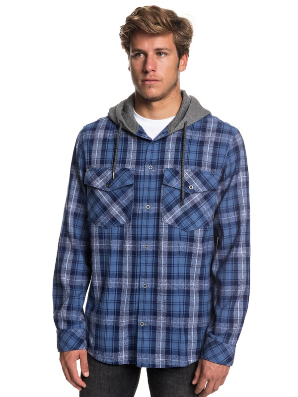 0 The Magston Long Sleeve Hooded Shirt Blue EQYWT03770 Quiksilver