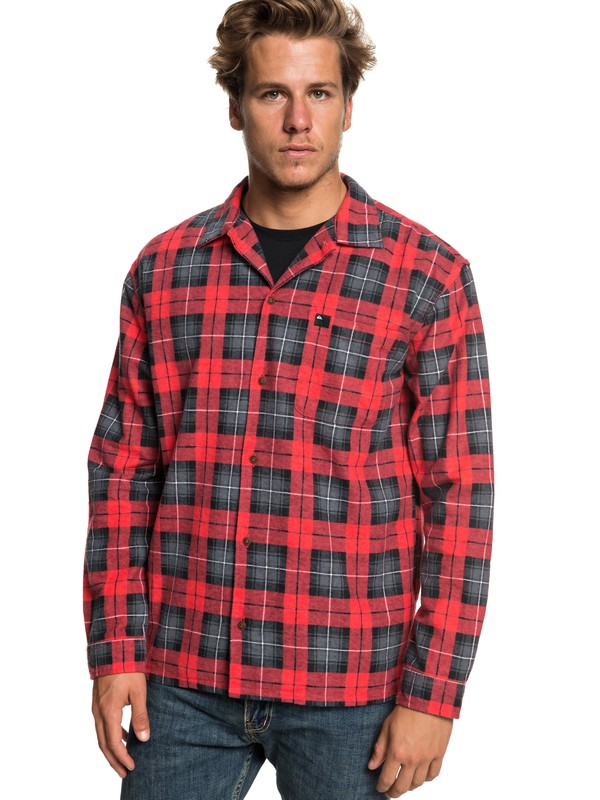 0 Storm Warning - Long Sleeve Flannel Shirt for Men Red EQYWT03777 Quiksilver