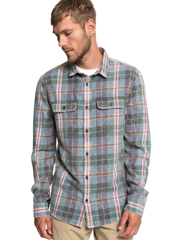 0 Super Tang Long Sleeve Flannel Shirt Blue EQYWT03785 Quiksilver
