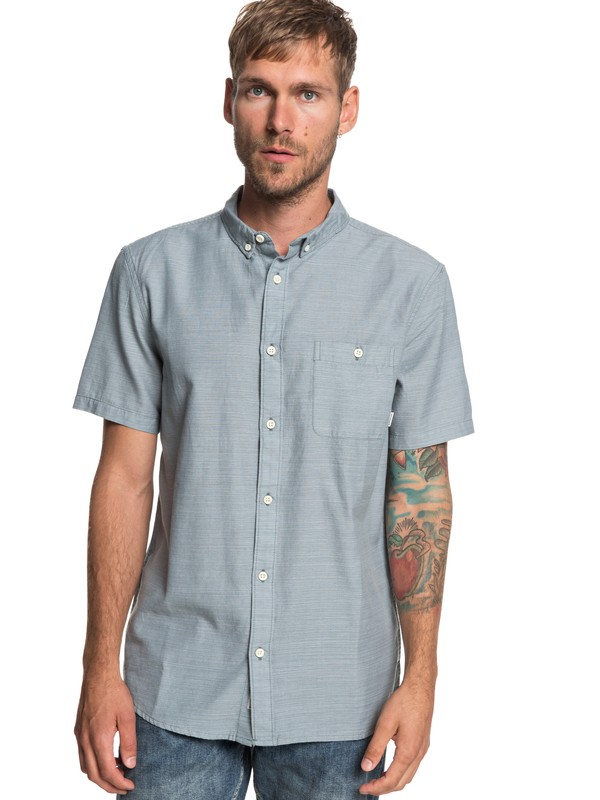 0 Waterfalls Short Sleeve Shirt Blue EQYWT03791 Quiksilver
