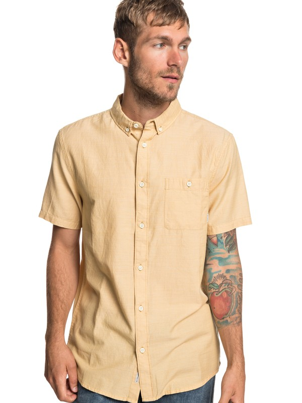 0 Waterfalls Short Sleeve Shirt Yellow EQYWT03791 Quiksilver
