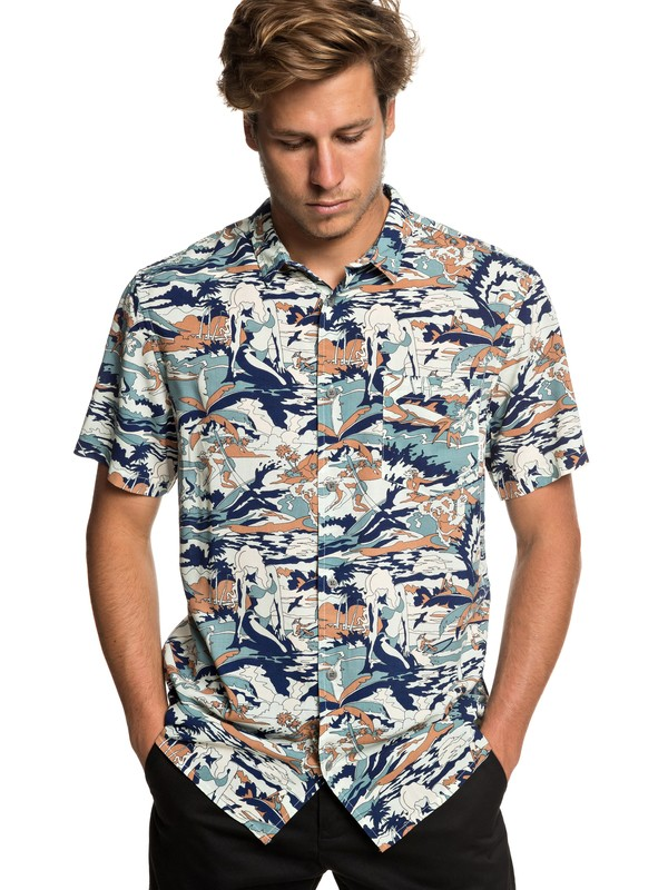 0 Feeling Fine - Short Sleeve Shirt for Men Blue EQYWT03797 Quiksilver
