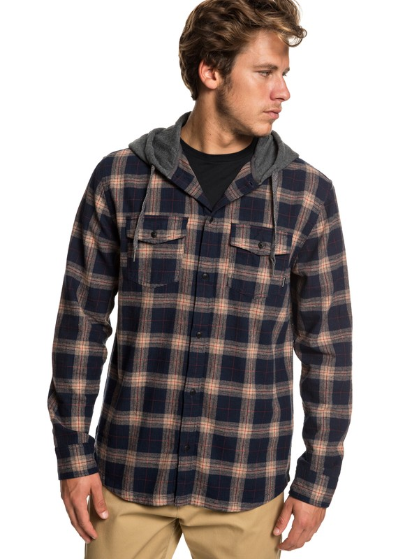 0 Snap Up Long Sleeve Hooded Flannel Shirt Brown EQYWT03802 Quiksilver