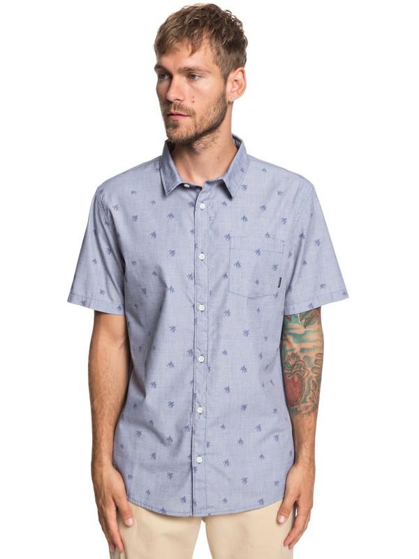 0 Seajam Palm Short Sleeve Shirt Blue EQYWT03815 Quiksilver