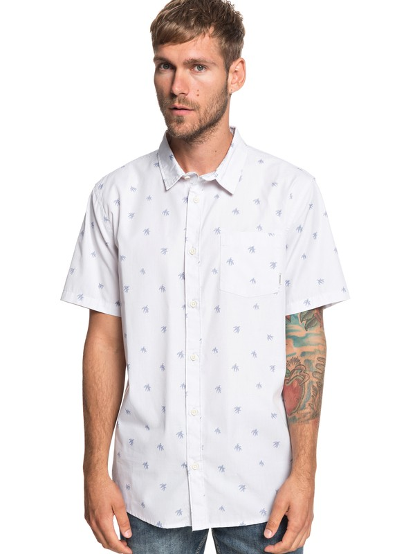 0 Seajam Palm Short Sleeve Shirt White EQYWT03815 Quiksilver