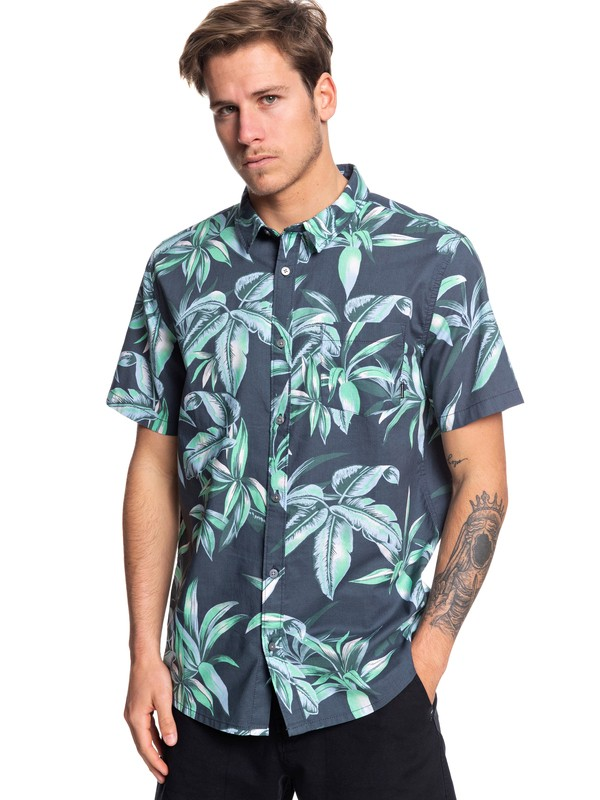0 Deep Bay Short Sleeve Hawaiian Shirt Blue EQYWT03824 Quiksilver