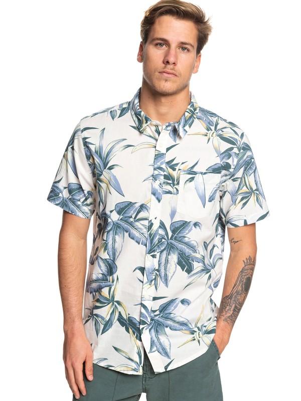 0 Deep Bay Short Sleeve Hawaiian Shirt White EQYWT03824 Quiksilver