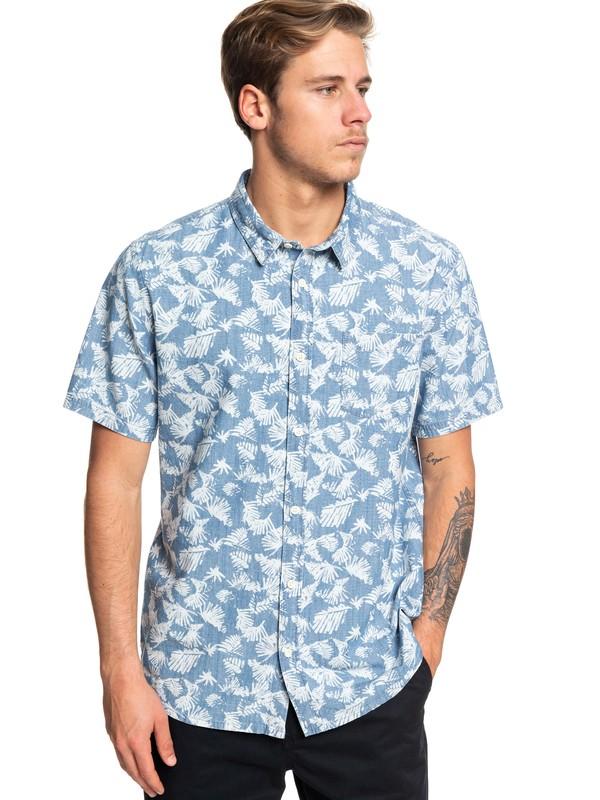 0 Leaf Camo Short Sleeve Shirt Blue EQYWT03825 Quiksilver