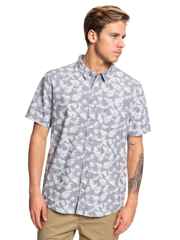 0 Leaf Camo Short Sleeve Shirt Black EQYWT03825 Quiksilver