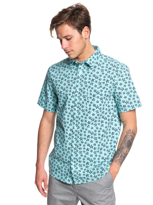 0 Minimal Flower Short Sleeve Shirt Blue EQYWT03828 Quiksilver