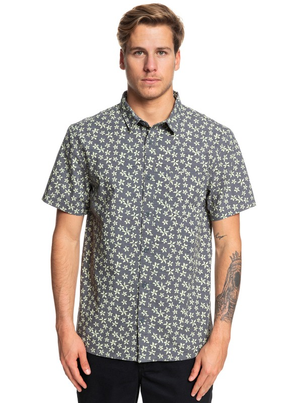 0 Minimal Flower Short Sleeve Shirt Black EQYWT03828 Quiksilver