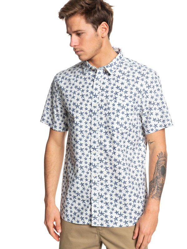 0 Minimal Flower Short Sleeve Shirt White EQYWT03828 Quiksilver