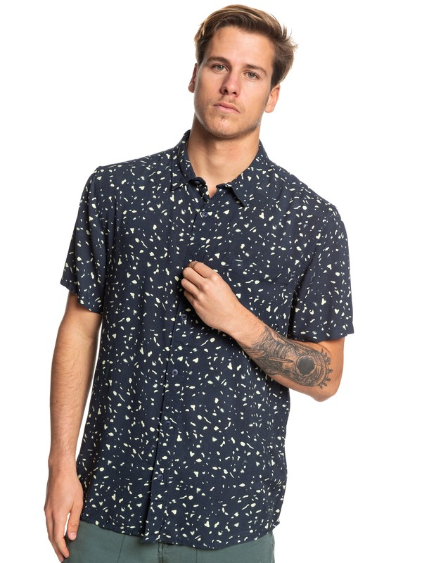 0 Fluid Geometric Short Sleeve Shirt Blue EQYWT03833 Quiksilver