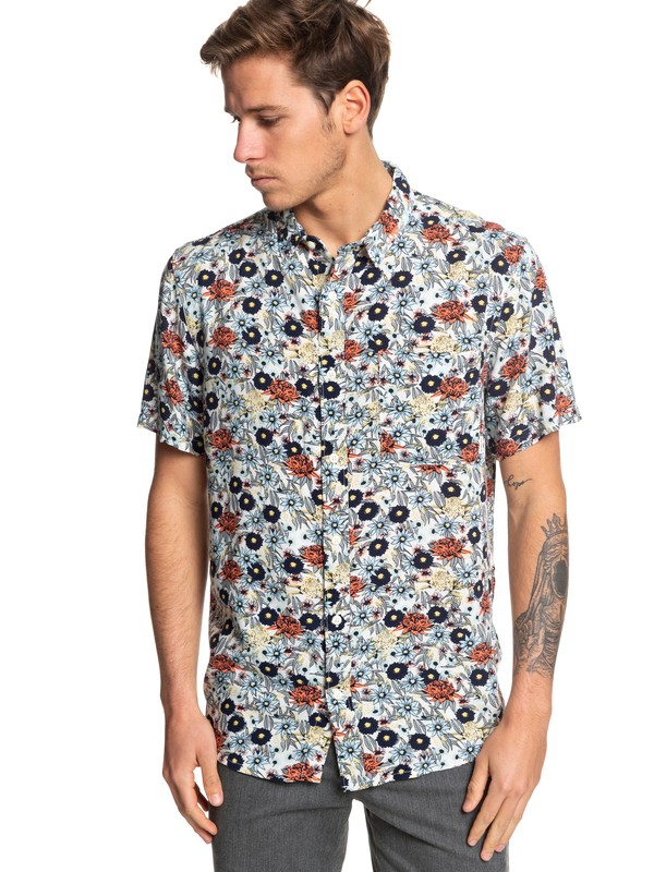 0 Fluid Geometric Short Sleeve Shirt White EQYWT03833 Quiksilver