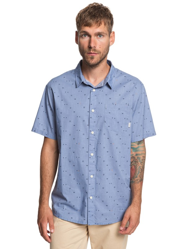 0 Rock The Road Short Sleeve Shirt Blue EQYWT03836 Quiksilver
