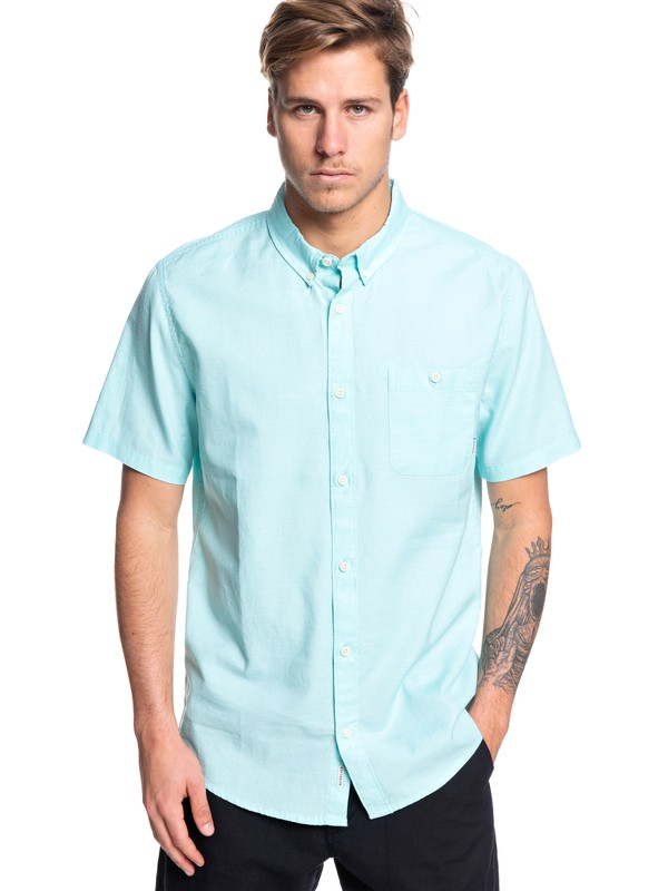 0 Waterfalls Short Sleeve Shirt Blue EQYWT03841 Quiksilver