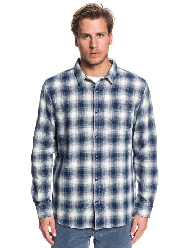 0 Inca Gold Check Long Sleeve Shirt Blue EQYWT03847 Quiksilver